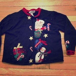 Vintage 2004 Ugly Christmas Sweater Cardigan L